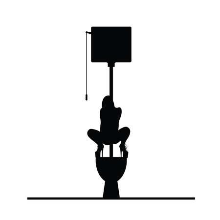 woman on toilet cartoon vector silhouette illustration Illustration