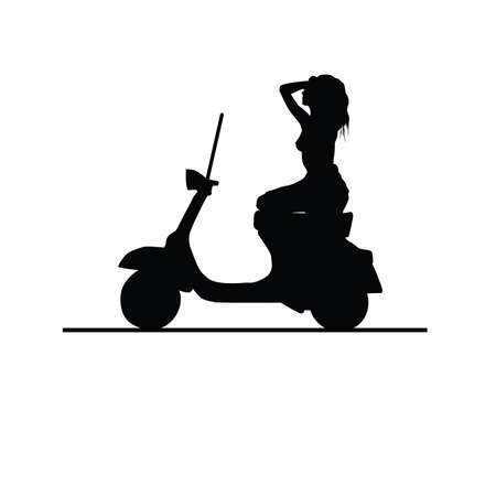 moto: girl black vector silhouette on moto