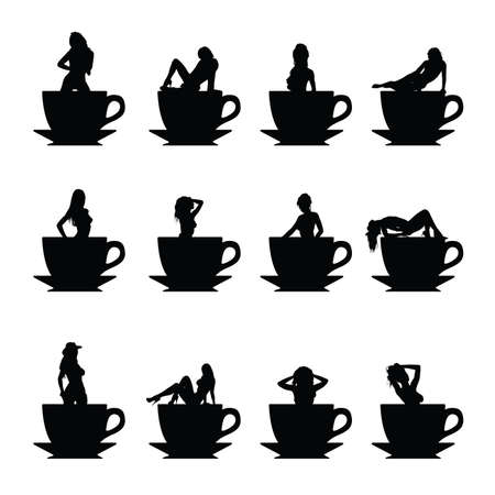 black coffee: girl black vector silhouette in cup of coffee