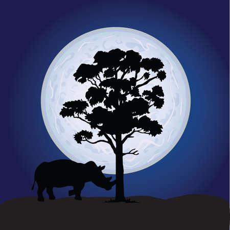 massive: rhino sweet vector on a moonlight