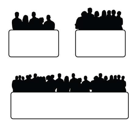 black people: people set silhouette illustration in black Illustration