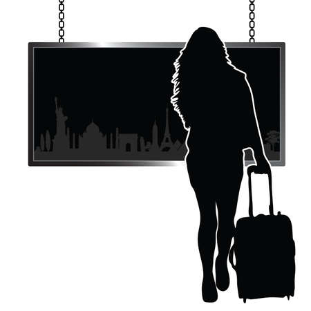 monument: girl travel illustration with famous historic monument