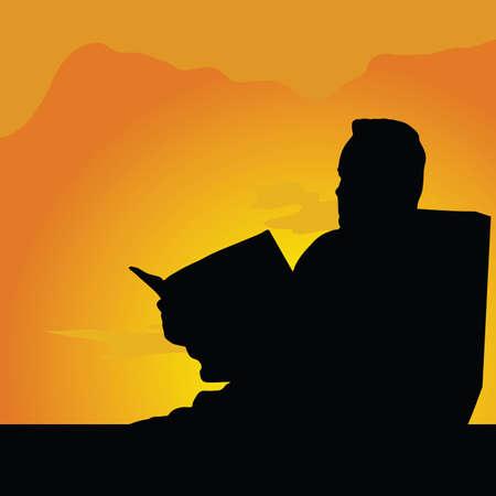 man reading: man reading illustration silhouette