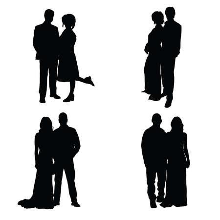 boyfriends: couple set silhouette illustration on white Illustration