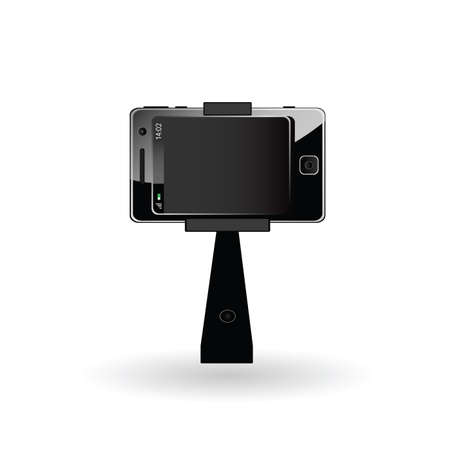 touchphone: selfie mobile phone illustration in black color Illustration