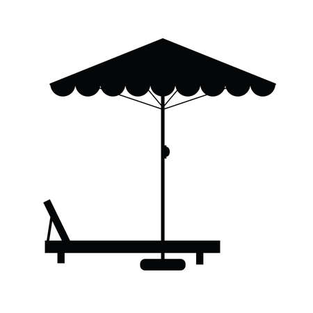 deckchair: deckchair and umbrella black illustration