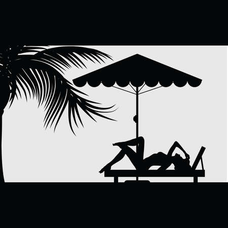 deck chair isolated: woman relax under the palm illustration silhouette