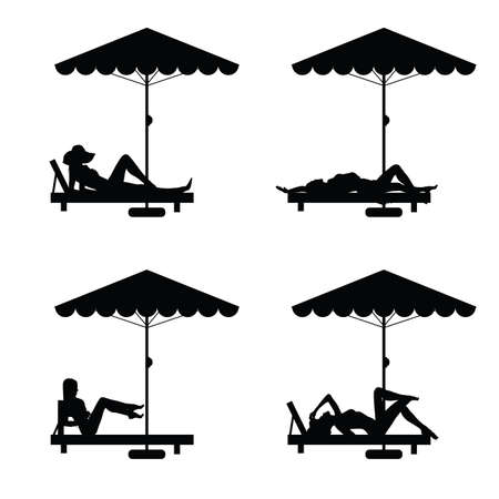 deck chair isolated: deckchair and umbrella with woman silhouette on it illustration Illustration