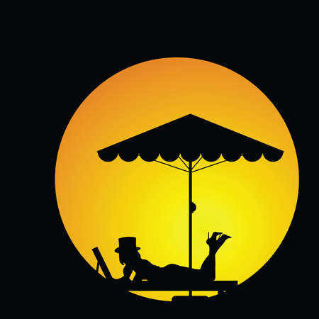 deckchair: woman relax silhouette illustration in colorful