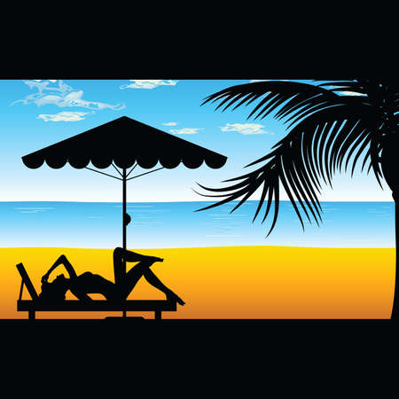 deck chair isolated: woman relax on the beach illustration silhouette in colorful Illustration