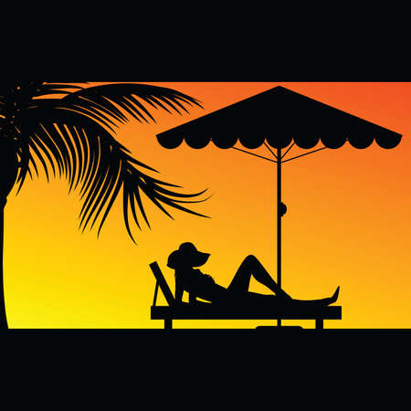 deck chair isolated: woman relax under the palm silhouette illustration in colorful
