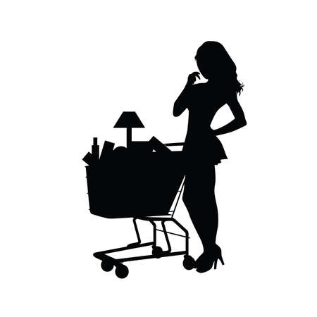 black woman: woman shopping silhouette illustration in black color Illustration