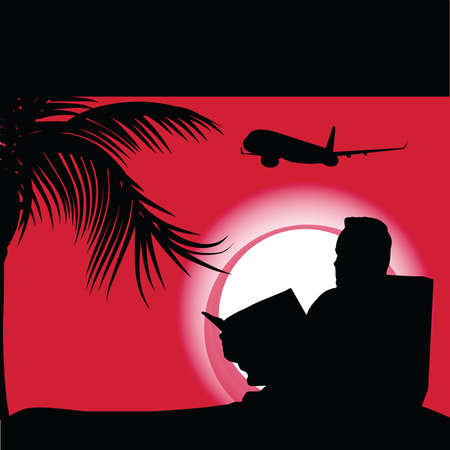 palm reading: man reading book illustration silhouette Illustration