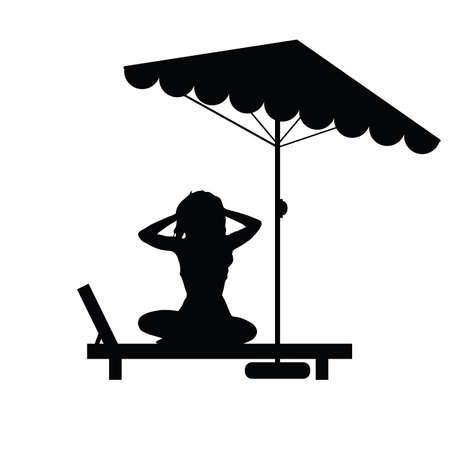 deck chair isolated: woman relax on deckchair illustration in black color