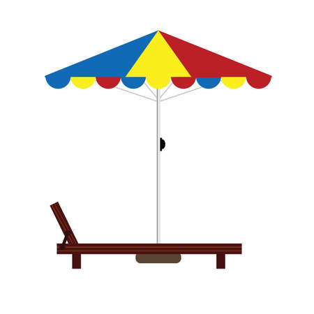 deck chair isolated: deckchair color with umbrella illustration
