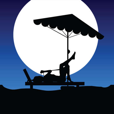 deckchair: woman on deckchair on moonlight illustration in colorful Illustration