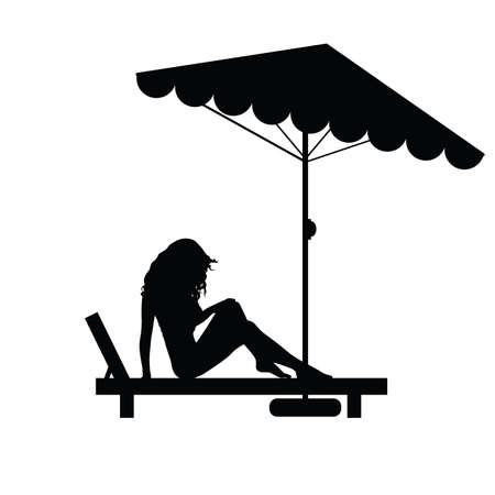 deck chair isolated: woman pretty relax on deckchair black illustration Illustration