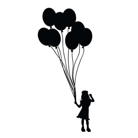 silhouettes of children: child with balloon toy silhouette illustration