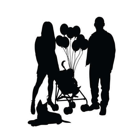 mam: child with balloon and mam and dad illustration silhouette