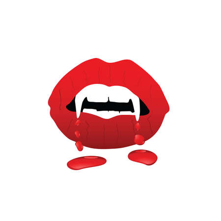long mouth: lips vampire with blood illustration in colorful