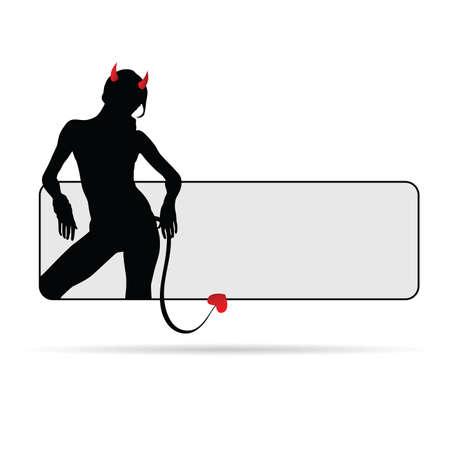sensual: girl devil red sensual silhouette illustration