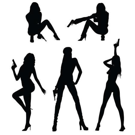 girl set with gun illustration silhouette