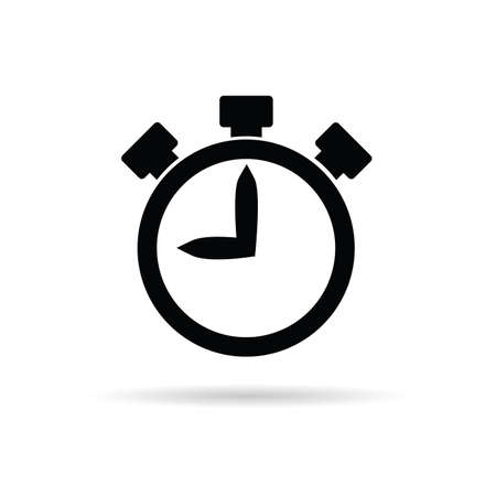 stop icon: stopwatch illustration in black color Illustration
