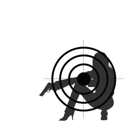 girl with gun: girl with gun and target illustration silhouette
