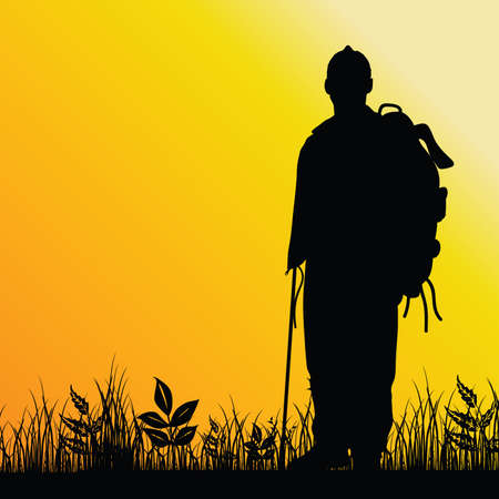 plant stand: man in nature illustration silhouette in colorful