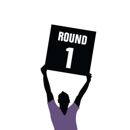 man holding sign: man holding sign of round illustration silhouette