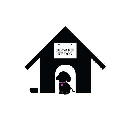 eager: dog sweet in house silhouette illustration Illustration