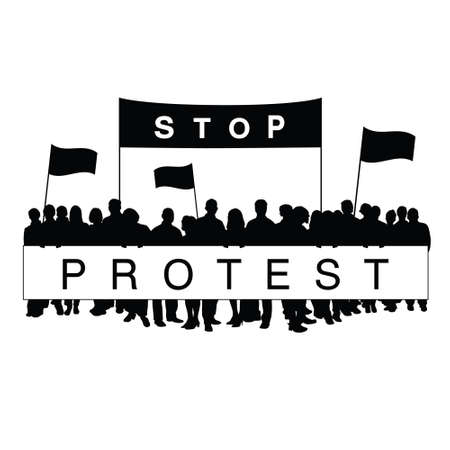protest: seniors protest work silhouette illustration Illustration
