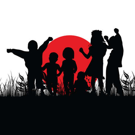 red sun: children black silhouette illustration in nature with red sun