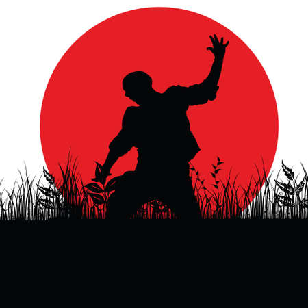 red sun: man jump in nature silhouette illustration with red sun