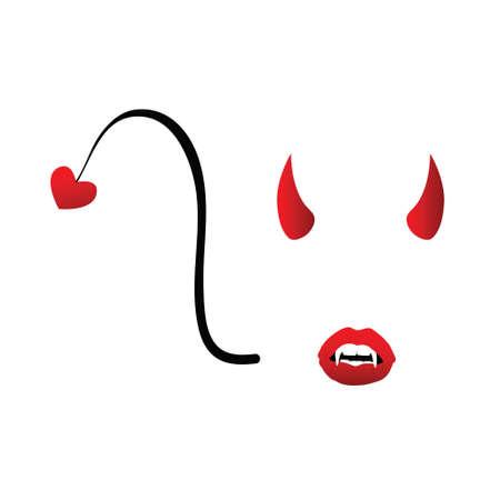 devil girl: devil girl face illustration in colorful Illustration