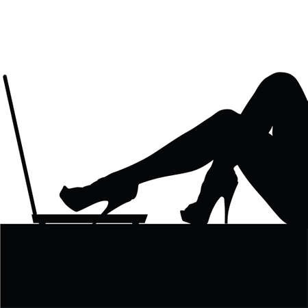 girl laptop: woman legs on laptop illustration silhouette in black Illustration