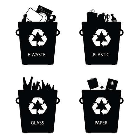 reciclar basura: latas de reciclaje de basura set signo ilustraci�n
