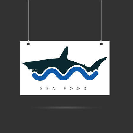 danger to life: seafood icon on signboard illustration with shark Illustration