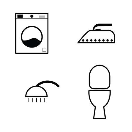 drycleaning: wash icon set illustration in black