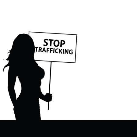 trafficking: stop human trafficking with girl illustration silhouette Illustration