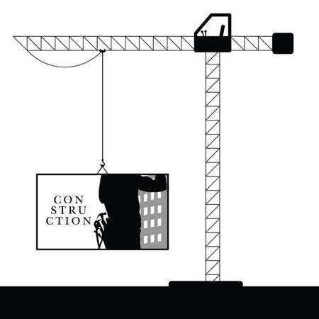 steel worker: crane steel construction black illustration with worker