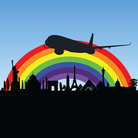 monument: ancient monument with airplane illustration in colorful Illustration