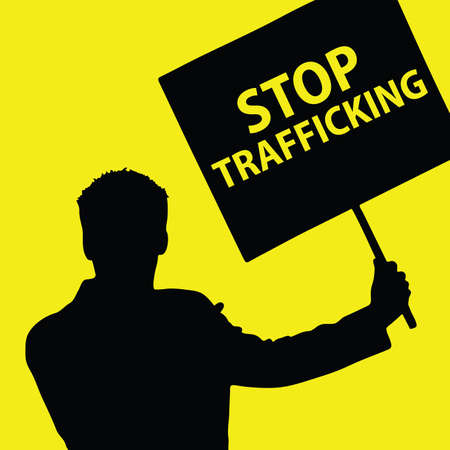 trafficking: man with board with stop trafficking illustration on yellow