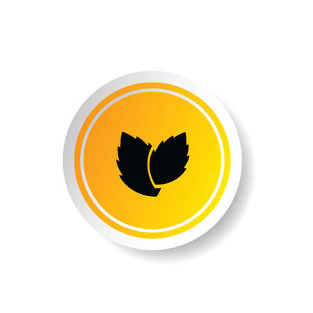 highland: sticker in yellow color with plant icon illustration