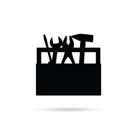 steel workers: tool box icon in black color illustration