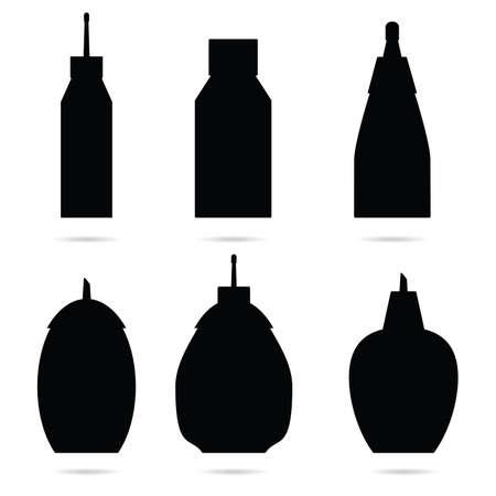 sugar bowl set in black color illustration