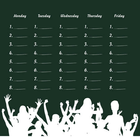 school table: school table with party people illustration on green background Illustration
