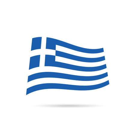 aegean: greece flag hellas on wind design illustration in colorful Illustration