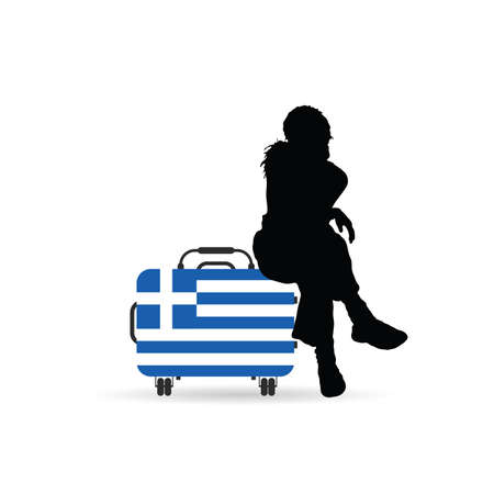 aegean: girl siting on travel bag with greece flag color illustration