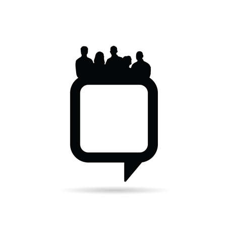 gir: people silhouette with speech bubble in black color illustration